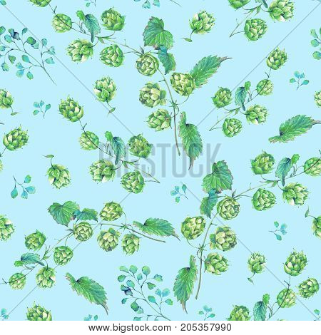 Watercolor natural seamless pattern of hops. Floral vintage watercolor illustration on blue  background