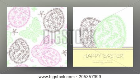 Set of postcard or banner for Happy Easter Day with lace eggs and cute rabbits and seamless pattern. Graphically, silhouette drawing. Stock line vector illustration.