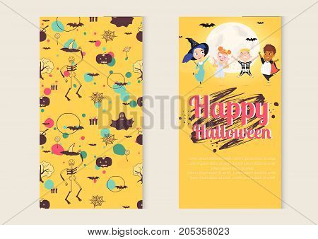 Happy Halloween kids character vector concept. Cute Halloween kids set. Vector Illustration. - stock vector