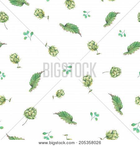 Watercolor natural seamless pattern of hops. Floral vintage watercolor illustration on white  background