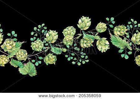 Watercolor natural seamless border of hops. Floral vintage watercolor illustration on black  background
