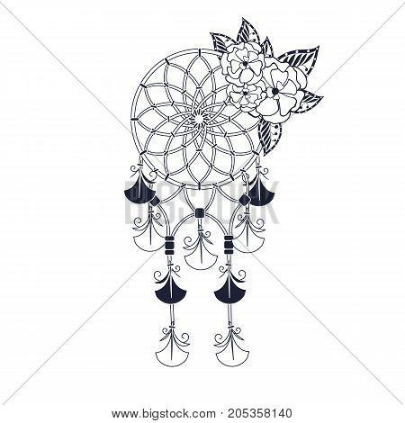 Monochrome Indian Dream catcher stock vector illustration