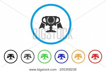Achievement Award Cup rounded icon. Style is a flat achievement award cup grey symbol inside light blue circle with black, gray, green, blue, red, orange color versions.