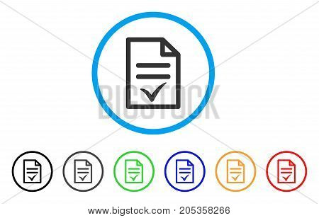 Agreement Document rounded icon. Style is a flat agreement document grey symbol inside light blue circle with black, gray, green, blue, red, orange color versions.