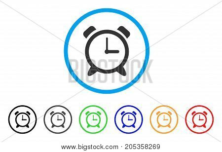 Alarm Clock rounded icon. Style is a flat alarm clock grey symbol inside light blue circle with black, gray, green, blue, red, orange variants. Vector designed for web and software interfaces.