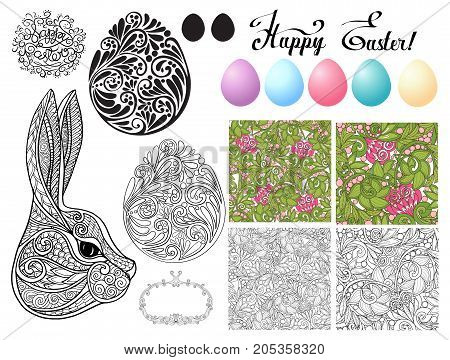 Set of design elements for Happy Easter Day with lace eggs and cute rabbits and seamless pattern. Stock line vector illustration.