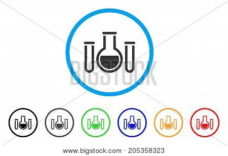 Analysis Glassware rounded icon. Style is a flat analysis glassware gray symbol inside light blue circle with black, gray, green, blue, red, orange color versions.