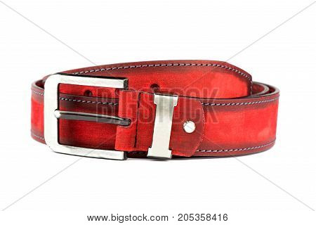 belt for jeans, a red belt, a belt on a white background