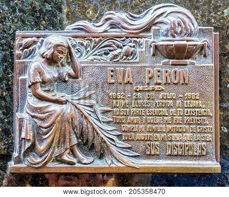 Eva Peron Grave Plaque