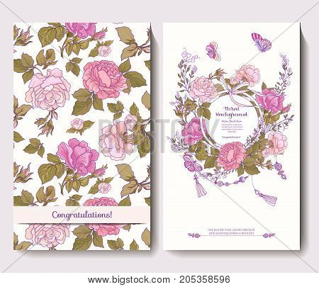 Set of two cards for wedding invitation birthday with rose flowers and butterflies in pink and green colors on white background. Stock vector.