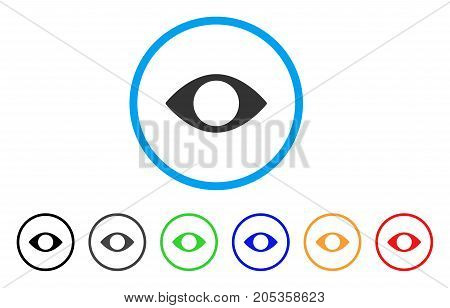 Blind Eye rounded icon. Style is a flat blind eye gray symbol inside light blue circle with black, gray, green, blue, red, orange variants. Vector designed for web and software interfaces.