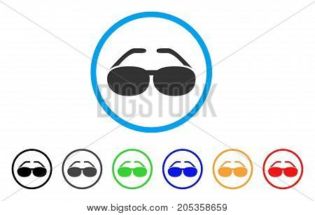 Blind Spectacles rounded icon. Style is a flat blind spectacles grey symbol inside light blue circle with black, gray, green, blue, red, orange color versions.