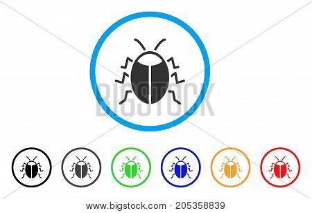 Bug rounded icon. Style is a flat bug gray symbol inside light blue circle with black, gray, green, blue, red, orange color versions. Vector designed for web and software interfaces.