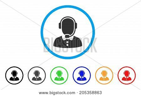 Call Center rounded icon. Style is a flat call center grey symbol inside light blue circle with black, gray, green, blue, red, orange versions. Vector designed for web and software interfaces.