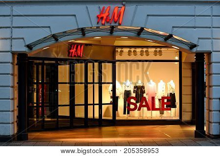 Malmo Sweden - July 25 2017: Exterior view of the H&M store in Malmo Sweden. HM is a famous Swedish multinational retail-clothing company.