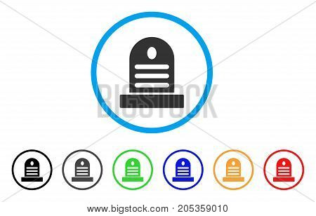 Cemetery Stone rounded icon. Style is a flat cemetery stone grey symbol inside light blue circle with black, gray, green, blue, red, orange variants. Vector designed for web and software interfaces.