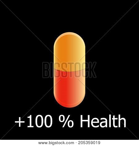 orange-red pill antibiotic on a black background one hundred percent for health