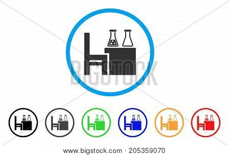 Chemical Desk rounded icon. Style is a flat chemical desk grey symbol inside light blue circle with black, gray, green, blue, red, orange versions. Vector designed for web and software interfaces.