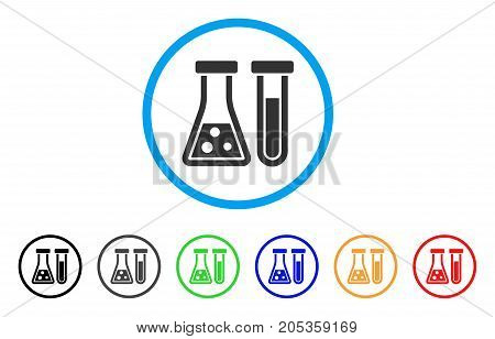 Chemistry rounded icon. Style is a flat chemistry grey symbol inside light blue circle with black, gray, green, blue, red, orange versions. Vector designed for web and software interfaces.