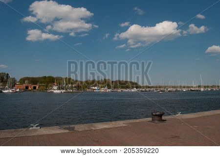 Rostock Harbor In Germany