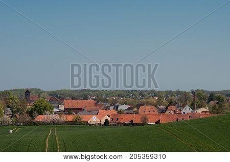 Town Praestoe And Hill Antonihoejen In Denmark