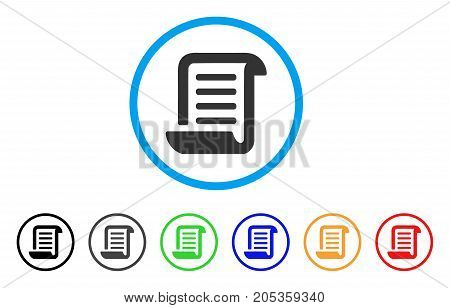 Conclusion Roll Document rounded icon. Style is a flat conclusion roll document gray symbol inside light blue circle with black, gray, green, blue, red, orange variants.