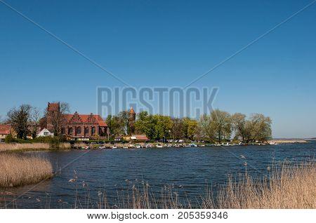Village of Praestoe in Denmark on a sunny day