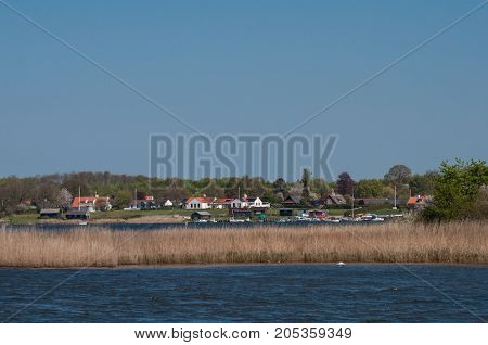 Town of Praestoe in Denmark on a bright day