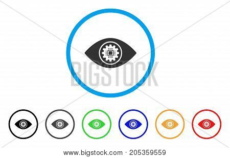 Cyber Eye Lens rounded icon. Style is a flat cyber eye lens grey symbol inside light blue circle with black, gray, green, blue, red, orange versions. Vector designed for web and software interfaces.
