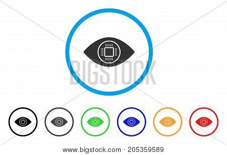 Cyborg Eye rounded icon. Style is a flat cyborg eye gray symbol inside light blue circle with black, gray, green, blue, red, orange variants. Vector designed for web and software interfaces.