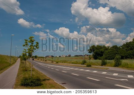 Road In The Suburbs Of The Town Naestved In Denmark