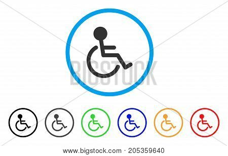 Disabled Person rounded icon. Style is a flat disabled person gray symbol inside light blue circle with black, gray, green, blue, red, orange color versions.