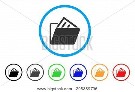 Document Folder rounded icon. Style is a flat document folder grey symbol inside light blue circle with black, gray, green, blue, red, orange color versions.