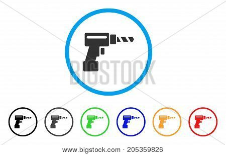 Drill rounded icon. Style is a flat drill gray symbol inside light blue circle with black, gray, green, blue, red, orange color versions. Vector designed for web and software interfaces.