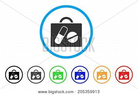 Drugs Case rounded icon. Style is a flat drugs case gray symbol inside light blue circle with black, gray, green, blue, red, orange color versions. Vector designed for web and software interfaces.