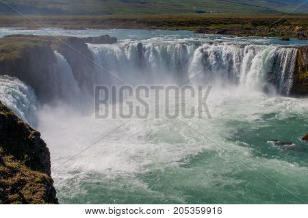 the Godafoss waterfall in Iceland is a tourist attraction
