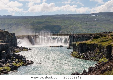 Godafoss waterfall in north Iceland is a natural phenomen