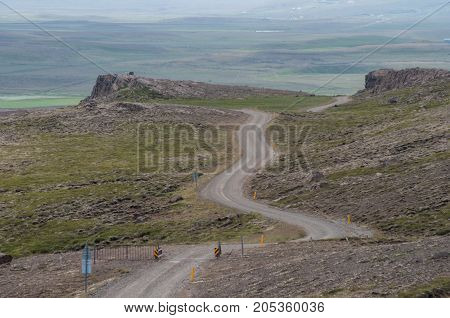 gravel road near Borgarvirki in North Iceland