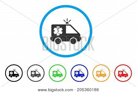 Emergency Car rounded icon. Style is a flat emergency car gray symbol inside light blue circle with black, gray, green, blue, red, orange variants. Vector designed for web and software interfaces.