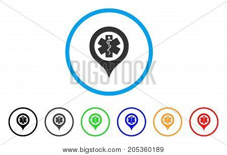 Emergency Map Marker rounded icon. Style is a flat emergency map marker grey symbol inside light blue circle with black, gray, green, blue, red, orange color versions.