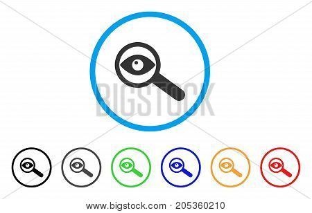 Examine Eye rounded icon. Style is a flat examine eye grey symbol inside light blue circle with black, gray, green, blue, red, orange color versions. Vector designed for web and software interfaces.
