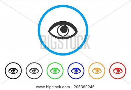 Eye rounded icon. Style is a flat eye gray symbol inside light blue circle with black, gray, green, blue, red, orange variants. Vector designed for web and software interfaces.