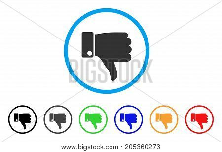 Fail Thumb Down rounded icon. Style is a flat fail thumb down gray symbol inside light blue circle with black, gray, green, blue, red, orange versions. Vector designed for web and software interfaces.