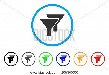 Filters rounded icon. Style is a flat filters gray symbol inside light blue circle with black, gray, green, blue, red, orange variants. Vector designed for web and software interfaces.