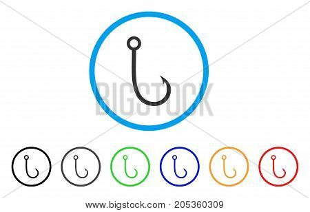 Fishing Hook rounded icon. Style is a flat fishing hook gray symbol inside light blue circle with black, gray, green, blue, red, orange color versions. Vector designed for web and software interfaces.