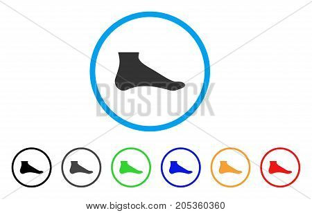 Foot rounded icon. Style is a flat foot gray symbol inside light blue circle with black, gray, green, blue, red, orange variants. Vector designed for web and software interfaces.