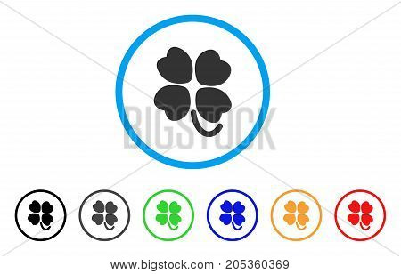Four-Leafed Clover rounded icon. Style is a flat four-leafed clover gray symbol inside light blue circle with black, gray, green, blue, red, orange color versions.