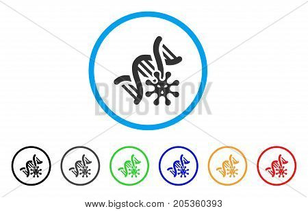 Genetics rounded icon. Style is a flat genetics gray symbol inside light blue circle with black, gray, green, blue, red, orange versions. Vector designed for web and software interfaces.