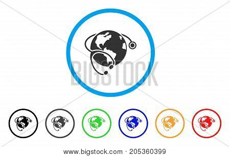Global Healthcare Stethoscope rounded icon. Style is a flat global healthcare stethoscope grey symbol inside light blue circle with black, gray, green, blue, red, orange versions.