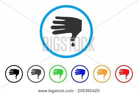 Hand Wound rounded icon. Style is a flat hand wound gray symbol inside light blue circle with black, gray, green, blue, red, orange versions. Vector designed for web and software interfaces.